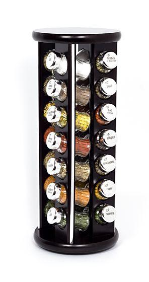 Gewürzregal; Gewürzkarussell für Gewürze und Kräuter; Holz ;28 Gläser;28 silver line