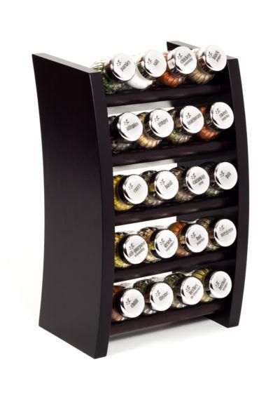 Gewürzregal; Küchenregal aus Holz für Gewürze und Kräuter; 20 Gläser; Gald – 20F-4x5-schmal