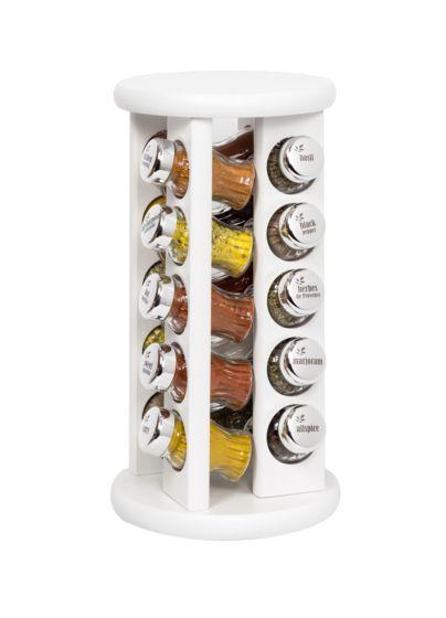Gewürzregal; Gewürzkarussell für Gewürze und Kräuter; Holz - 20 Gläser
