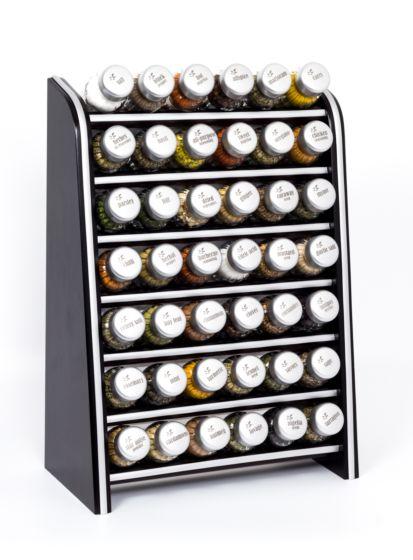 Gewürzregal; Küchenregal aus Holz für Gewürze und Kräuter; 42 Gläser; Gald – 42N silver line
