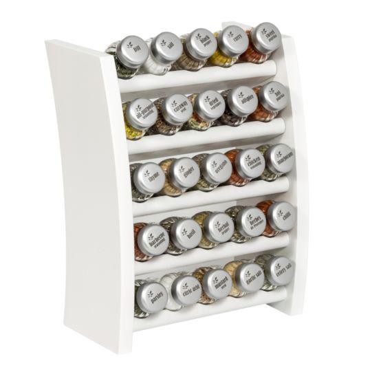 Gewürzregal; Küchenregal aus Holz für Gewürze und Kräuter; 25 Gläser; Gald – 25F- 5x5