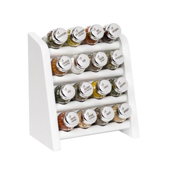 Gewürzregal; Küchenregal aus Holz für Gewürze und Kräuter; 16 Gläser; Gald – 16N