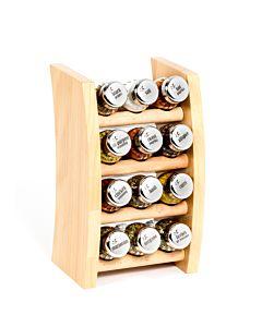 Gewürzregal; Küchenregal aus Holz für Gewürze und Kräuter; 12 Gläser; Gald – 12F-3x4- schmal