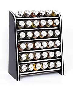 Gewürzregal; Küchenregal aus Holz für Gewürze und Kräuter; 36 Gläser; Gald – 36N silver line