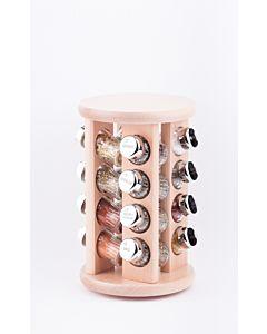 Gewürzregal; Gewürzkarussell für Gewürze und Kräuter; Holz ; 16 Gläser;16II