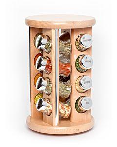 Gewürzregal; Gewürzkarussell für Gewürze und Kräuter; Holz ; 16 Gläser;16II silver line