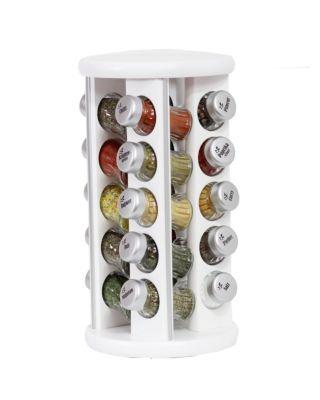 Gewürzregal; Gewürzkarussell für Gewürze und Kräuter; Holz ; 20 Gläser; silver line