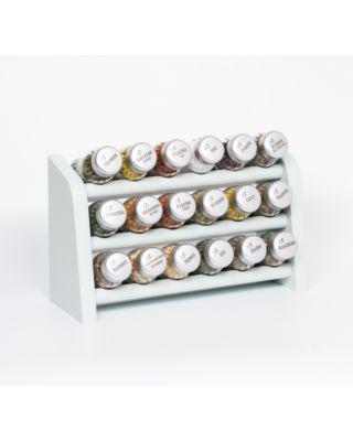 Gewürzregal; Küchenregal aus Holz für Gewürze und Kräuter; 18 Gläser; Gald – 18N