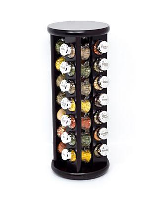 Gewürzregal; Gewürzkarussell für Gewürze und Kräuter; Holz ;28 Gläser