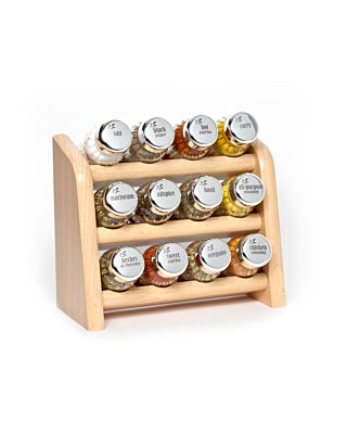 Gewürzregal; Küchenregal aus Holz für Gewürze und Kräuter; 12 Gläser; Gald - 12N3