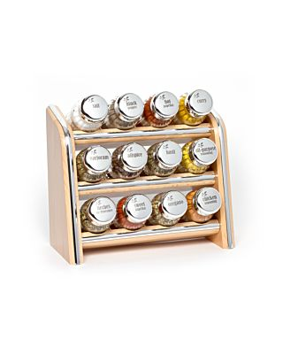 Gewürzregal; Küchenregal aus Holz für Gewürze und Kräuter; 12 Gläser; Gald - 12N3 silver line