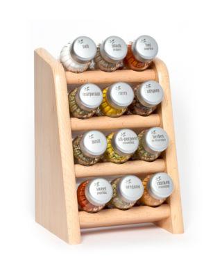 Gewürzregal; Küchenregal aus Holz für Gewürze und Kräuter; 12 Gläser; Gald – 12N4