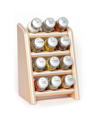 Gewürzregal; Küchenregal aus Holz für Gewürze und Kräuter; 12 Gläser; Gald – 12N4 silver line