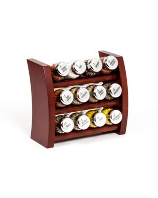 Gewürzregal; Küchenregal aus Holz für Gewürze und Kräuter; 12 Gläser; Gald – 12F-4x3-breit
