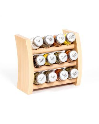 Gewürzregal; Küchenregal aus Holz für Gewürze und Kräuter; 15 Gläser; Gald – 15F-3x5-schmal