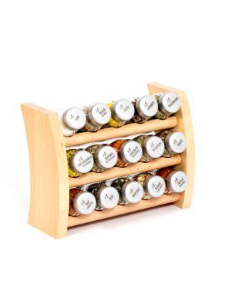 Gewürzregal; Küchenregal aus Holz für Gewürze und Kräuter; 15 Gläser; Gald – 15F-5x3-breit