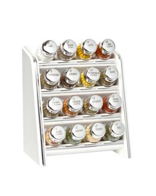 Gewürzregal; Küchenregal aus Holz für Gewürze und Kräuter; 16 Gläser; Gald – 16N silver line