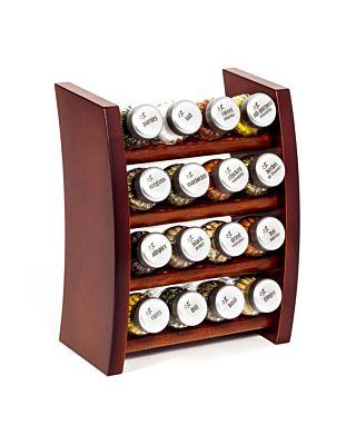 Gewürzregal; Küchenregal aus Holz für Gewürze und Kräuter; 16 Gläser; Gald – 16F 4x4