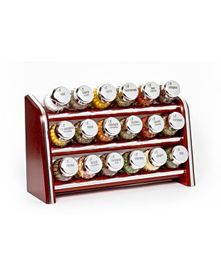 Gewürzregal; Küchenregal aus Holz für Gewürze und Kräuter; 24 Gläser; Gald – 24N silver line