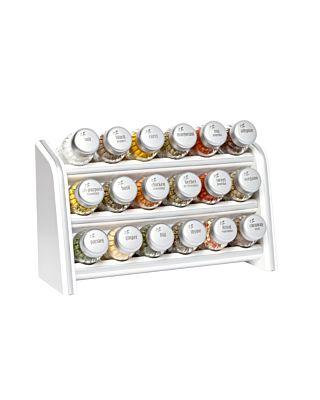 Gewürzregal; Küchenregal aus Holz für Gewürze und Kräuter; 18 Gläser; Gald – 18N silver line