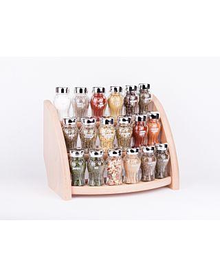 Gewürzregal; Küchenregal aus Holz für Gewürze und Kräuter; 18 Gläser; Gald – 18