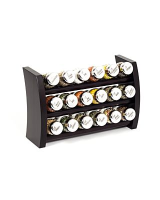 Gewürzregal; Küchenregal aus Holz für Gewürze und Kräuter; 18 Gläser; Gald – 18F-6x3-breit