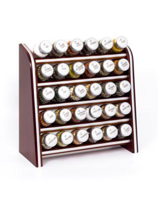 Gewürzregal; Küchenregal aus Holz für Gewürze und Kräuter; 30 Gläser; Gald – 30N silver line