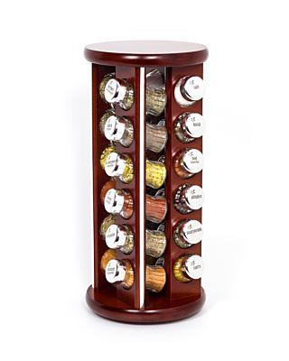 Gewürzregal; Gewürzkarussell für Gewürze und Kräuter; Holz; 24 Gläser; 24 silver line